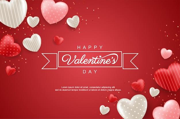 Cartão de feliz dia dos namorados com corações