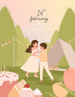 Cartão de feliz dia dos namorados com ilustração de casal romântico dançando juntos