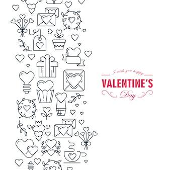 Cartão de feliz dia dos namorados com ilustração de muitos símbolos