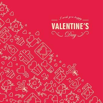 Cartão de feliz dia dos namorados dividido em duas partes com texto incluindo desejos de ser feliz no canto frontal e muitos ícones como coração, galho, envelope no esquerdo na ilustração vermelha