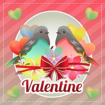 Cartão de feliz dia dos namorados modelo com pássaro casal Vetor Premium