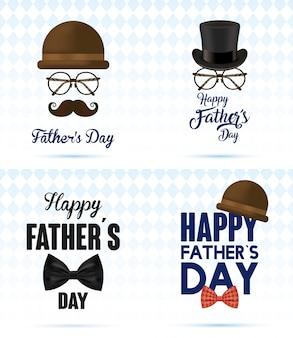 Cartão de feliz dia dos pais com acessórios cavalheiro