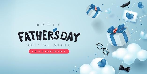 Cartão de feliz dia dos pais com caixa de presente para o pai