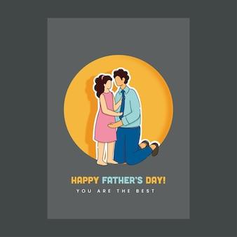 Cartão de feliz dia dos pais com corte de papel homem abraçando ela