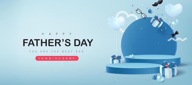 Cartão de feliz dia dos pais com exibição de produto em formato cilíndrico e caixa de presente para o pai