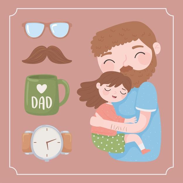 Cartão de feliz dia dos pais com o pai a abraçar a filha