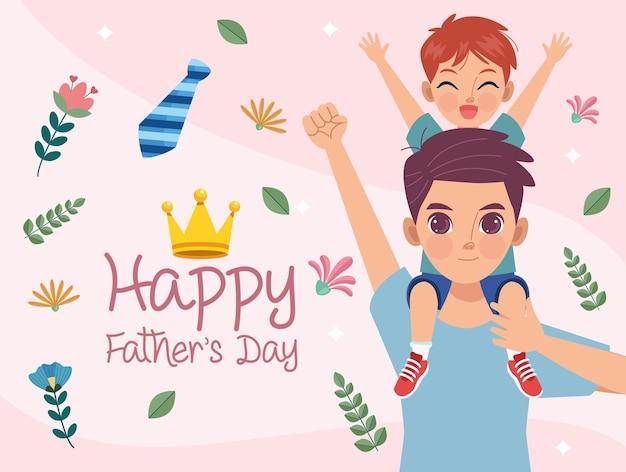Cartão de feliz dia dos pais com o pai levantando o filho