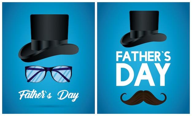 Cartão de feliz dia dos pais com tophat e bigode