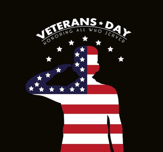 Cartão de feliz dia dos veteranos com a bandeira dos eua e ilustração de um soldado saudando