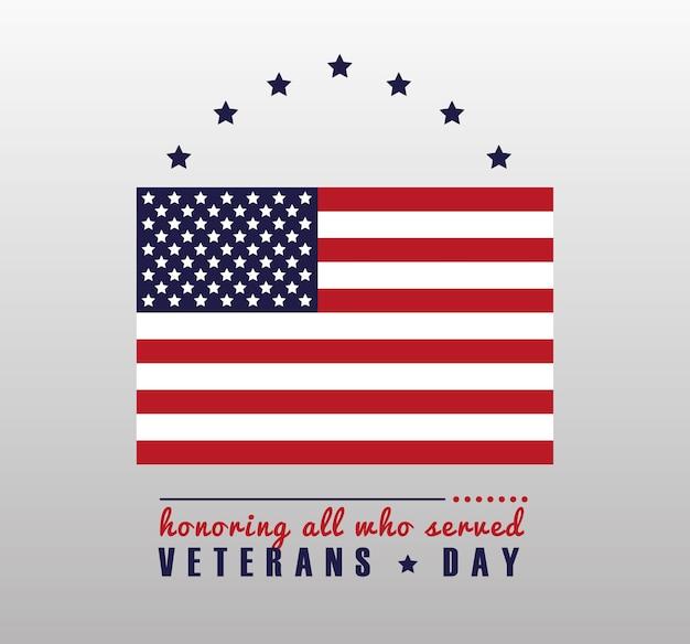 Cartão de feliz dia dos veteranos com a bandeira dos eua em ilustração de fundo cinza