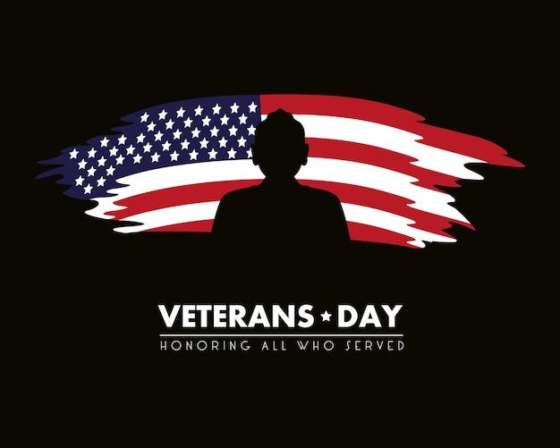 Cartão de feliz dia dos veteranos com a bandeira dos eua pintada e ilustração de silhoeutte do soldado