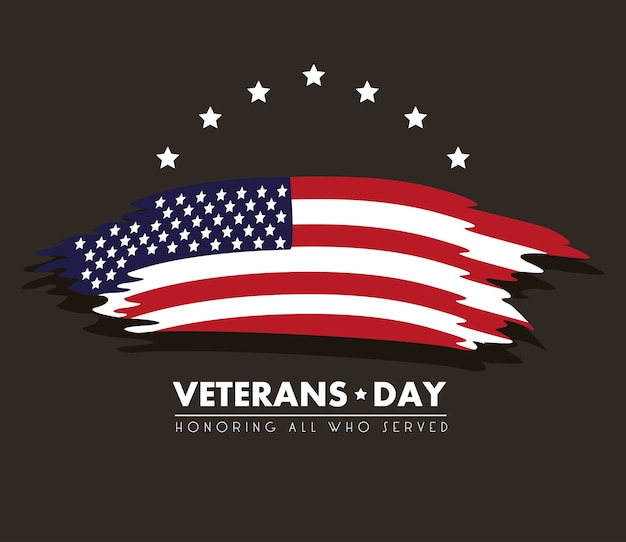 Cartão de feliz dia dos veteranos com a bandeira dos eua pintada em fundo preto.