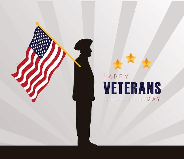 Cartão de feliz dia dos veteranos com a silhueta do oficial e a bandeira dos eua na ilustração do mastro