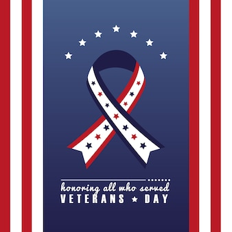 Cartão de feliz dia dos veteranos com campanha da fita e ilustração do quadro da bandeira dos eua