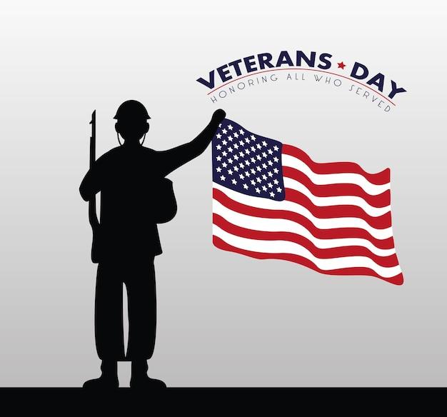 Cartão de feliz dia dos veteranos com ilustração da bandeira dos eua e da silhueta do soldado
