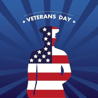 Cartão de feliz dia dos veteranos com ilustração da silhueta do oficial e da bandeira dos eua