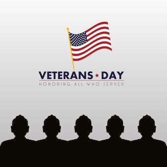 Cartão de feliz dia dos veteranos com ilustração de silhuetas de soldados e bandeira dos eua