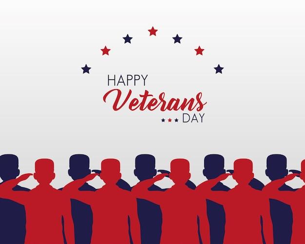 Cartão de feliz dia dos veteranos com ilustração de silhuetas de soldados saudando o grupo