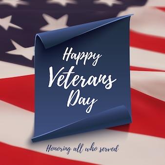 Cartão de feliz dia dos veteranos no fundo da bandeira americana