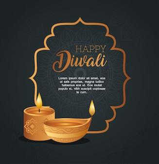 Cartão de feliz diwali com moldura com velas diya