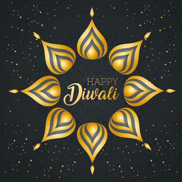 Cartão de feliz diwali com pétalas e velas