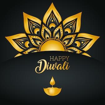 Cartão de feliz diwali com vela diya e mandala de ouro