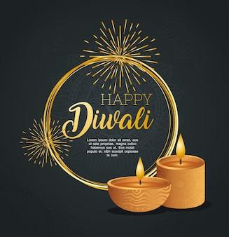 Cartão de feliz diwali com velas diya e fogos de artifício