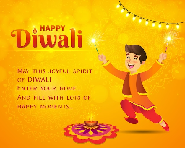 Cartão de feliz diwali. menino indiano bonito dos desenhos animados com roupas tradicionais pulando e brincando