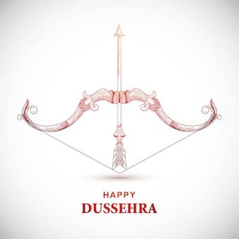Cartão de feliz dussehra com arco e flecha