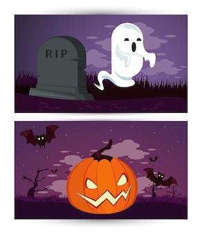 Cartão de feliz festa de halloween com fantasma e abóbora no cemitério