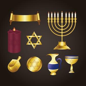 Cartão de feliz festa de hanukkah com ícones dourados
