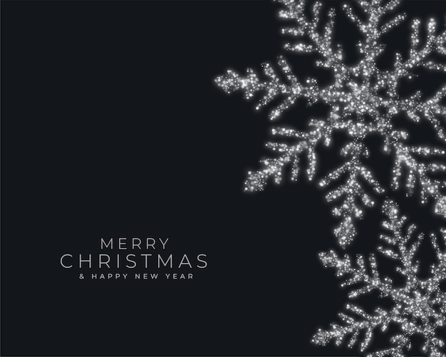 Cartão de feliz festival de natal com flocos de neve cintilantes