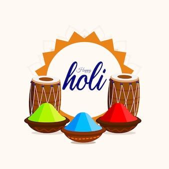Cartão de feliz holi com pote de lama colorido e tambor