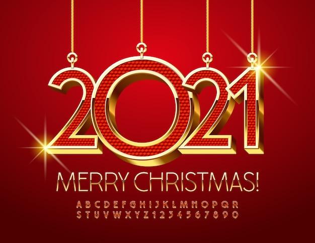 Cartão de feliz natal 2021. fonte elegante. letras e números do alfabeto vermelho e dourado