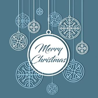 Cartão de feliz natal. bandeira de flocos de neve. fundo de inverno