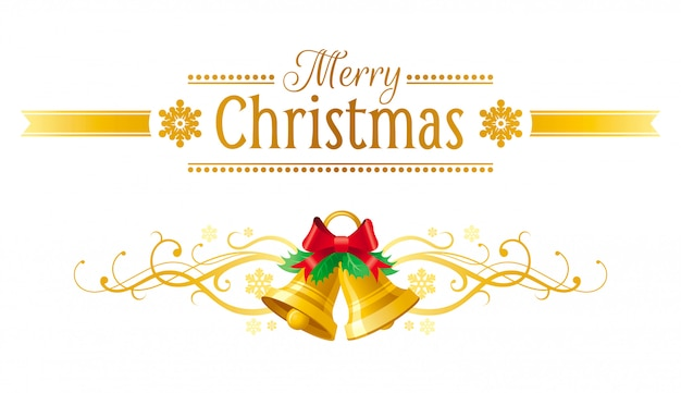 Cartão de feliz natal. banner de férias com guizos.