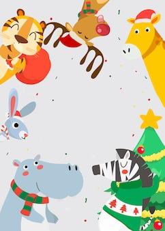 Cartão de feliz natal com animais