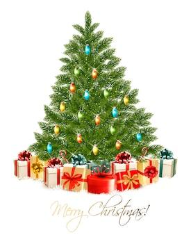 Cartão de feliz natal com árvore de natal e caixas de presente
