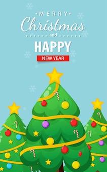 Cartão de feliz natal com árvore de natal