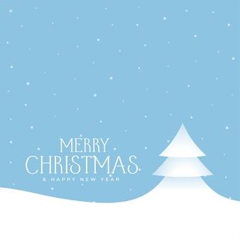 Cartão de feliz natal com árvore e neve caindo