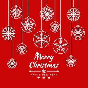 Cartão de feliz natal com banner de flocos de neve