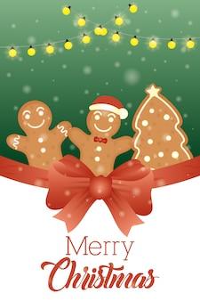 Cartão de feliz natal com biscoitos doces de gengibre