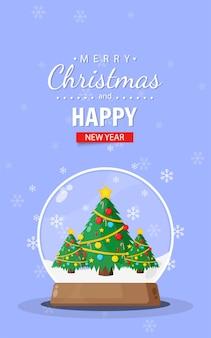 Cartão de feliz natal com bola de neve da árvore de natal