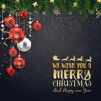 Cartão de feliz natal com bolas de natal vermelhas e prata