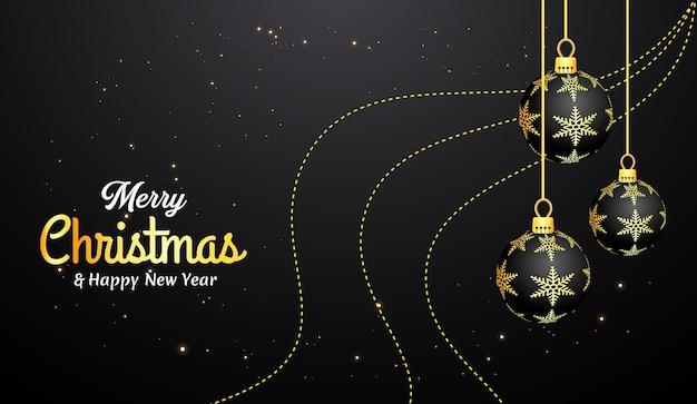 Cartão de feliz natal com bolas decorativas realistas