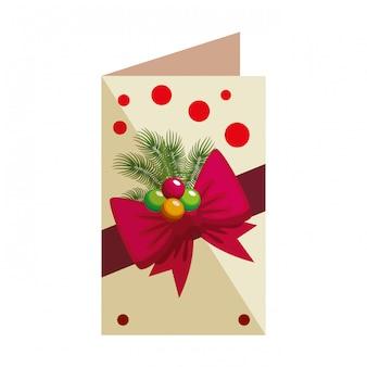 Cartão de feliz natal com bown e bolas