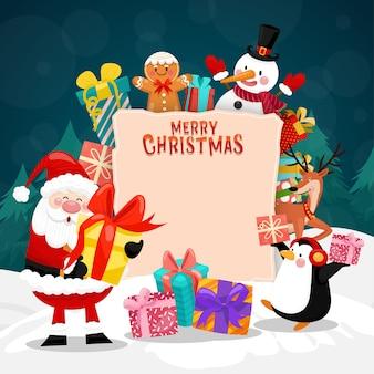 Cartão de feliz natal com caixa de papai noel, boneco de neve, pinguim e presente.