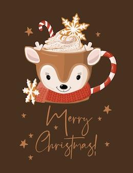 Cartão de feliz natal com caneca.