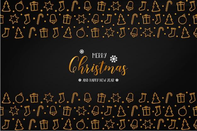 Cartão de feliz natal com conjunto de ícones de natal