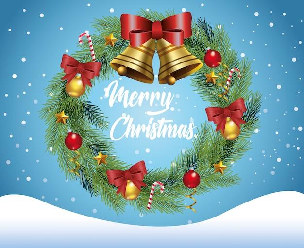 Cartão de feliz natal com coroa no projeto de ilustração vetorial snowscape